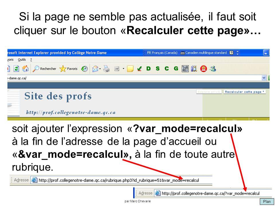 Plan par Marc Chevarie Si la page ne semble pas actualisée, il faut soit cliquer sur le bouton «Recalculer cette page»… soit ajouter lexpression « var_mode=recalcul» à la fin de ladresse de la page daccueil ou «&var_mode=recalcul», à la fin de toute autre rubrique.