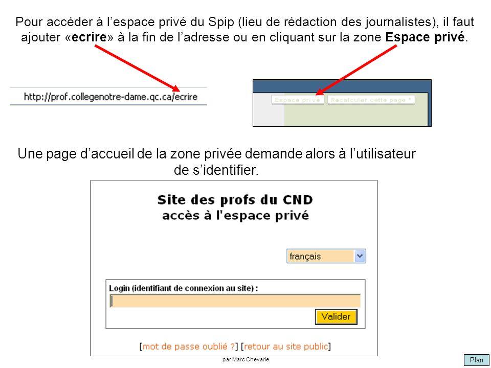 Plan par Marc Chevarie Pour accéder à lespace privé du Spip (lieu de rédaction des journalistes), il faut ajouter «ecrire» à la fin de ladresse ou en cliquant sur la zone Espace privé.
