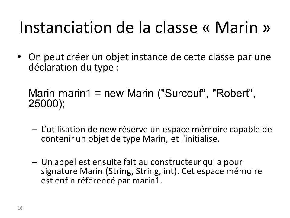 Instanciation de la classe « Marin » On peut créer un objet instance de cette classe par une déclaration du type : Marin marin1 = new Marin (