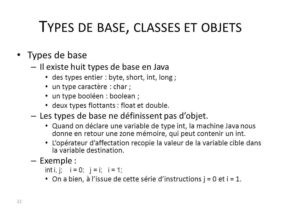 T YPES DE BASE, CLASSES ET OBJETS Types de base – Il existe huit types de base en Java des types entier : byte, short, int, long ; un type caractère :