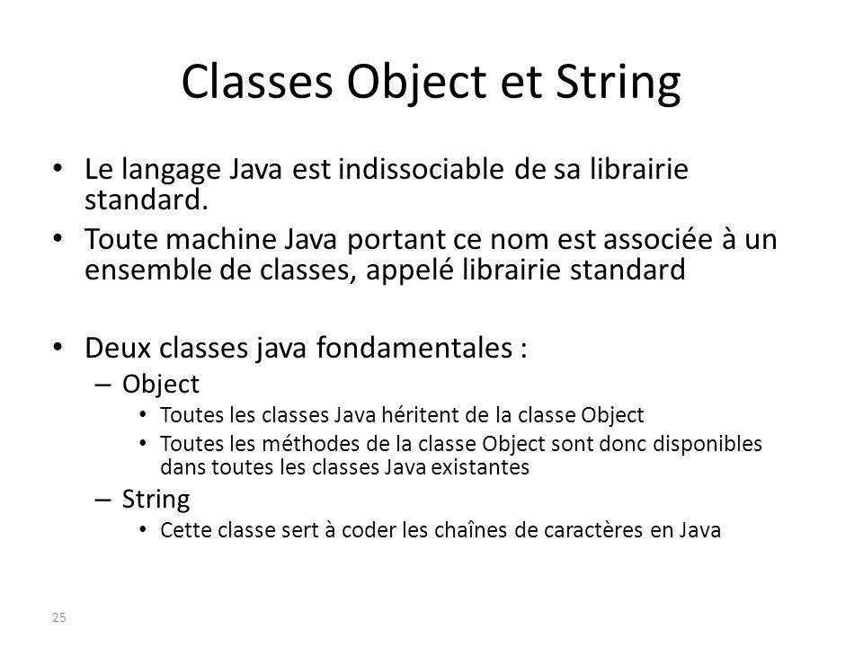 Classes Object et String Le langage Java est indissociable de sa librairie standard. Toute machine Java portant ce nom est associée à un ensemble de c