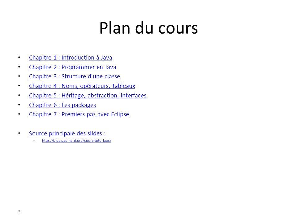 Plan du cours Chapitre 1 : Introduction à Java Chapitre 2 : Programmer en Java Chapitre 2 : Programmer en Java Chapitre 3 : Structure d'une classe Cha