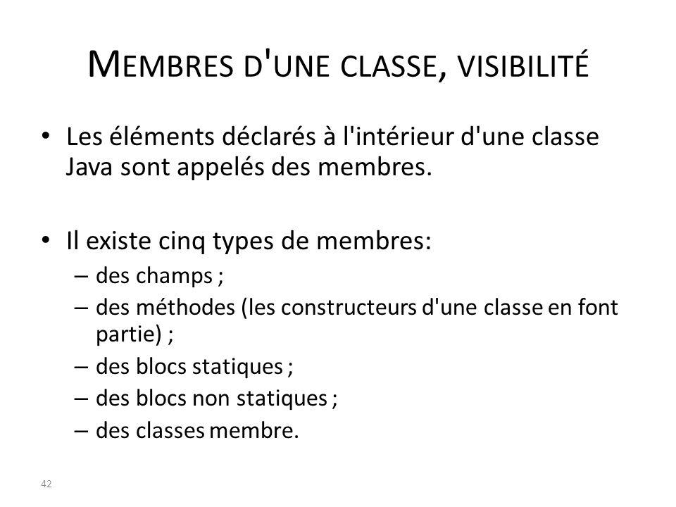 M EMBRES D ' UNE CLASSE, VISIBILITÉ Les éléments déclarés à l'intérieur d'une classe Java sont appelés des membres. Il existe cinq types de membres: –