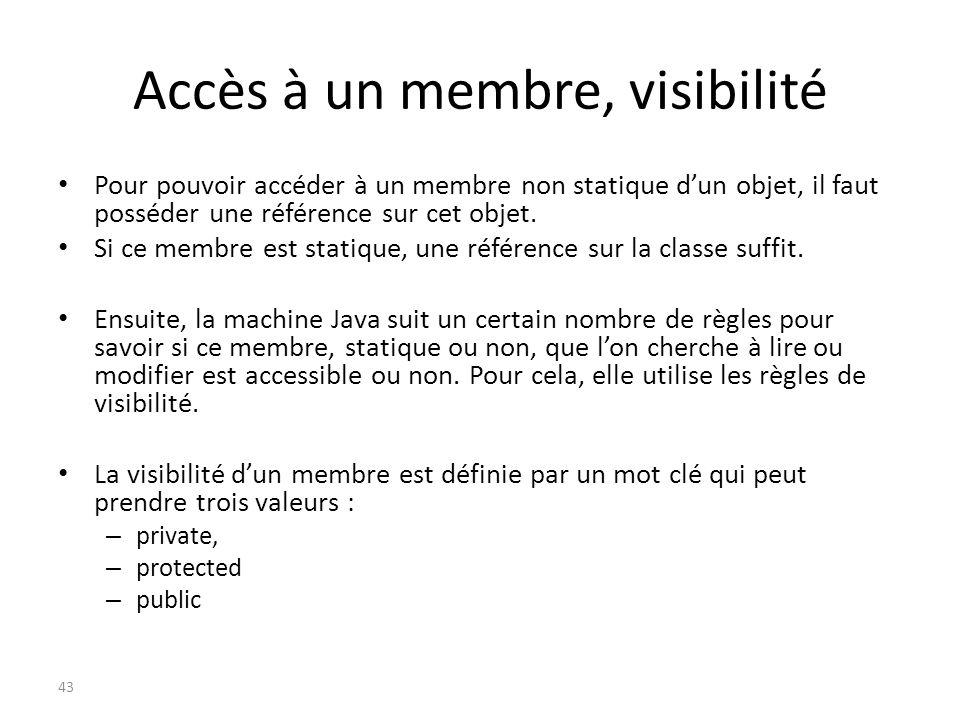 Accès à un membre, visibilité Pour pouvoir accéder à un membre non statique dun objet, il faut posséder une référence sur cet objet. Si ce membre est