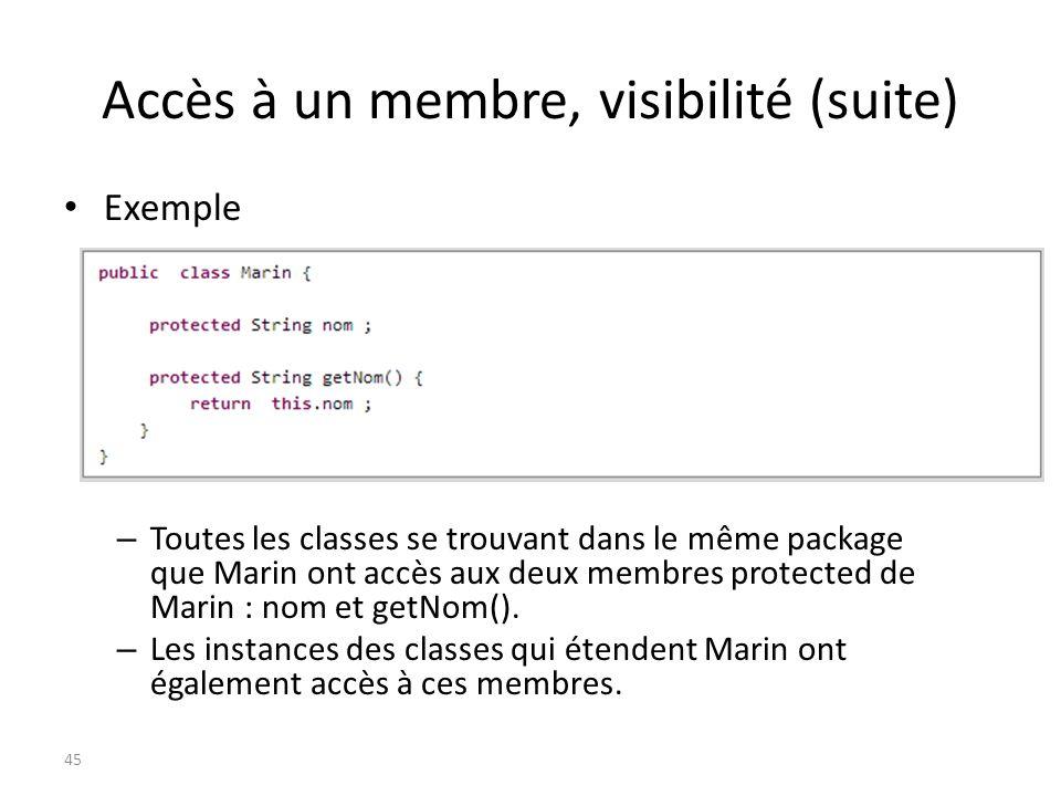 Accès à un membre, visibilité (suite) Exemple – Toutes les classes se trouvant dans le même package que Marin ont accès aux deux membres protected de