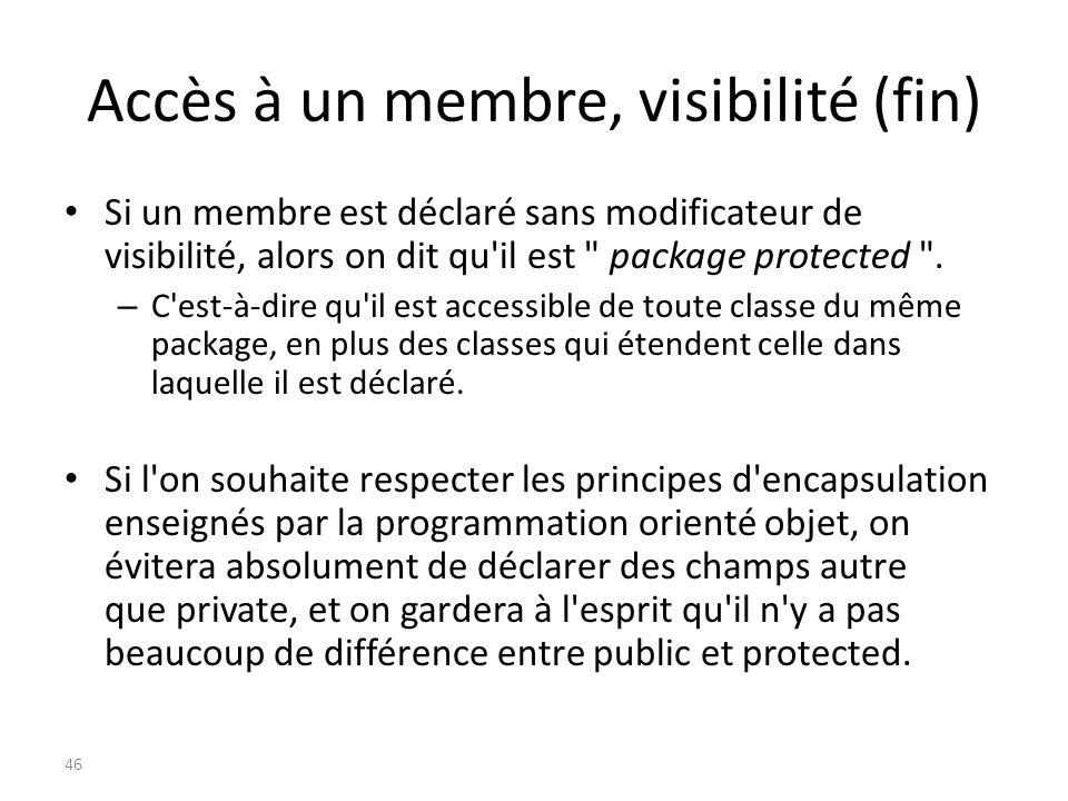 Accès à un membre, visibilité (fin) Si un membre est déclaré sans modificateur de visibilité, alors on dit qu'il est