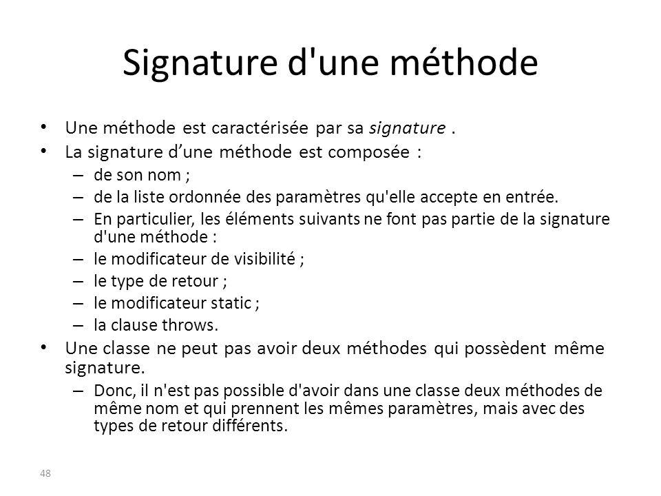 Signature d'une méthode Une méthode est caractérisée par sa signature. La signature dune méthode est composée : – de son nom ; – de la liste ordonnée