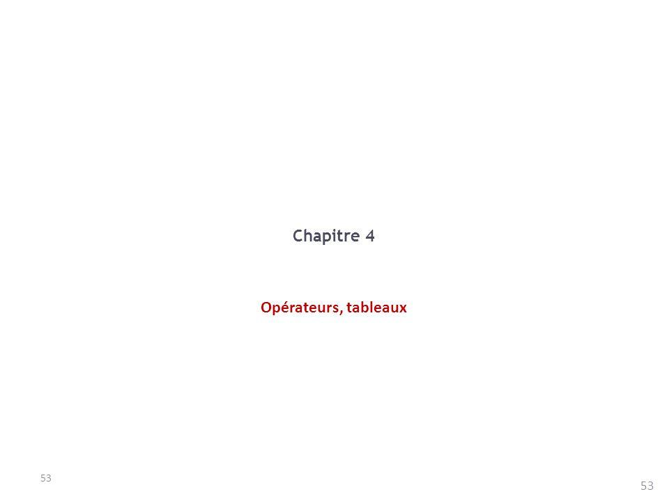 53 Chapitre 4 Opérateurs, tableaux