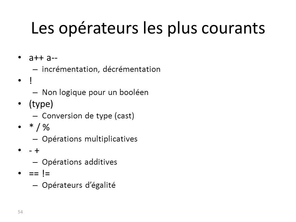 Les opérateurs les plus courants a++ a-- – incrémentation, décrémentation ! – Non logique pour un booléen (type) – Conversion de type (cast) * / % – O