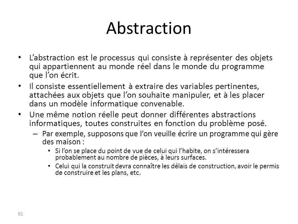 Abstraction Labstraction est le processus qui consiste à représenter des objets qui appartiennent au monde réel dans le monde du programme que lon écr