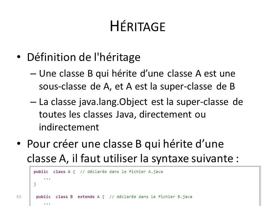 H ÉRITAGE Définition de l'héritage – Une classe B qui hérite dune classe A est une sous-classe de A, et A est la super-classe de B – La classe java.la