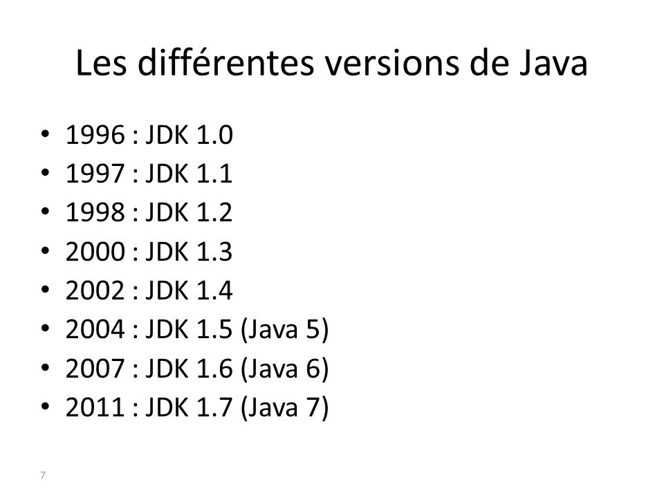 Les différentes versions de Java 1996 : JDK 1.0 1997 : JDK 1.1 1998 : JDK 1.2 2000 : JDK 1.3 2002 : JDK 1.4 2004 : JDK 1.5 (Java 5) 2007 : JDK 1.6 (Ja
