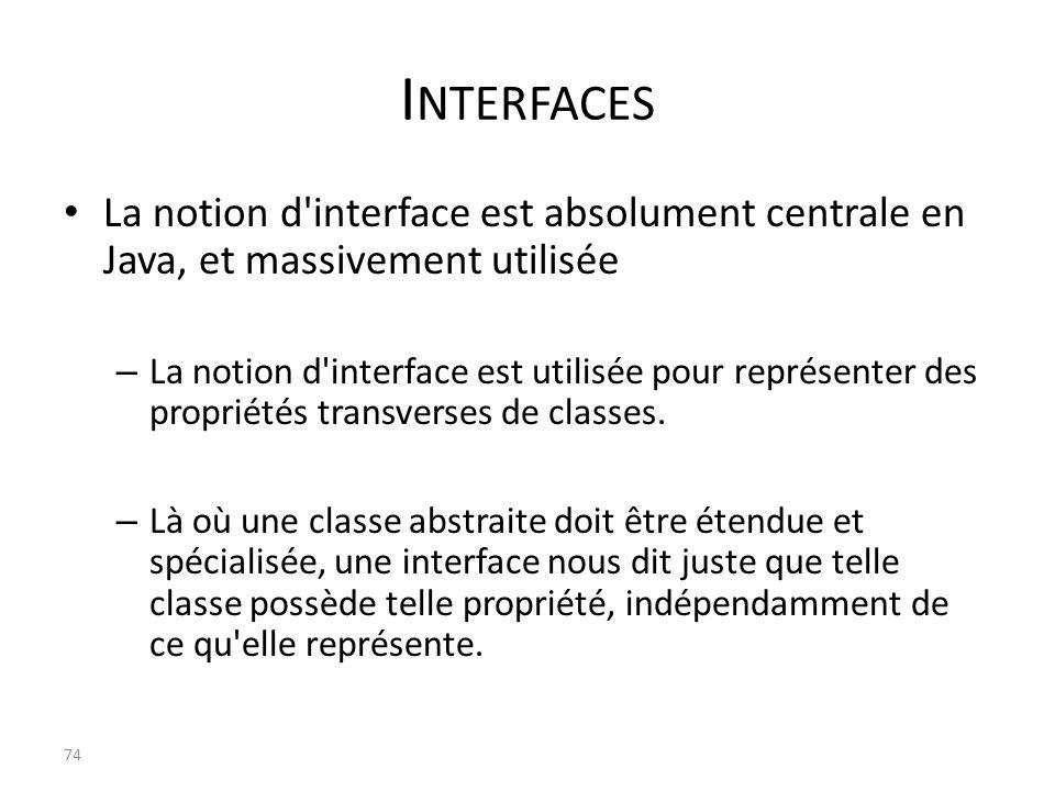 I NTERFACES La notion d'interface est absolument centrale en Java, et massivement utilisée – La notion d'interface est utilisée pour représenter des p