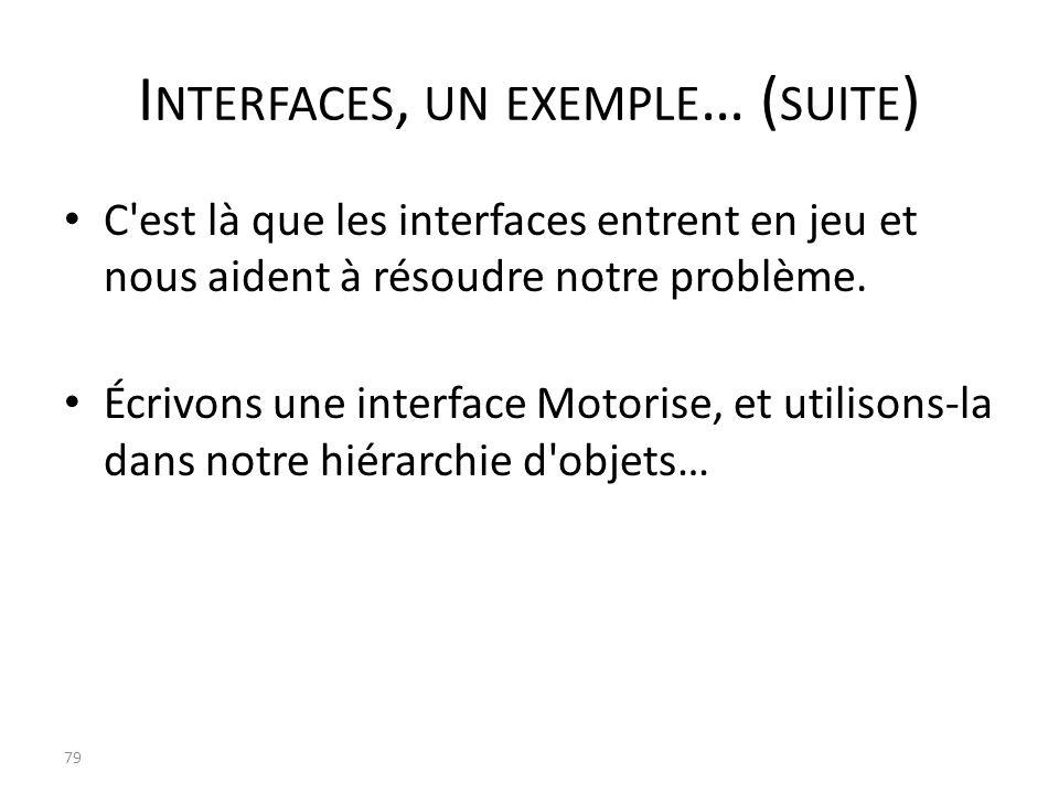 I NTERFACES, UN EXEMPLE … ( SUITE ) C'est là que les interfaces entrent en jeu et nous aident à résoudre notre problème. Écrivons une interface Motori