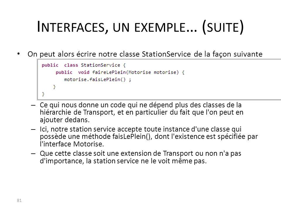 I NTERFACES, UN EXEMPLE … ( SUITE ) On peut alors écrire notre classe StationService de la façon suivante – Ce qui nous donne un code qui ne dépend pl
