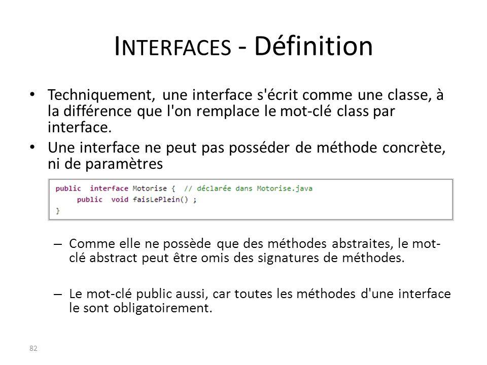 I NTERFACES - Définition Techniquement, une interface s'écrit comme une classe, à la différence que l'on remplace le mot-clé class par interface. Une