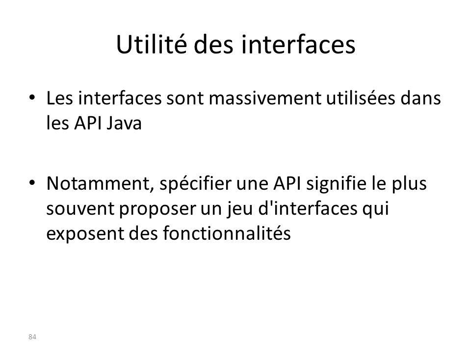 Utilité des interfaces Les interfaces sont massivement utilisées dans les API Java Notamment, spécifier une API signifie le plus souvent proposer un j