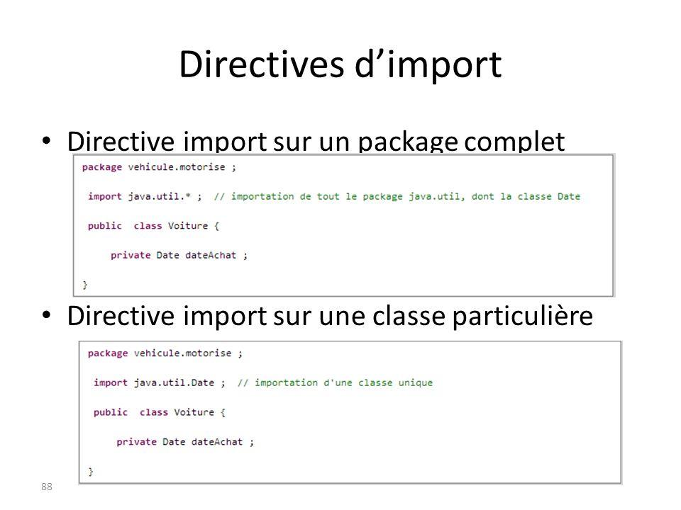 Directives dimport Directive import sur un package complet Directive import sur une classe particulière 88
