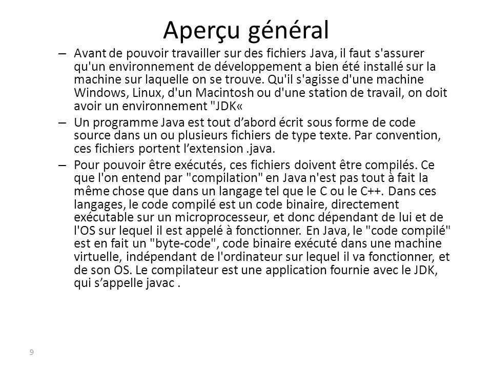Un premier programme J écris « Bonjour le monde » en Java .