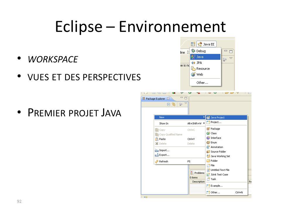 Eclipse – Environnement WORKSPACE VUES ET DES PERSPECTIVES P REMIER PROJET J AVA 92
