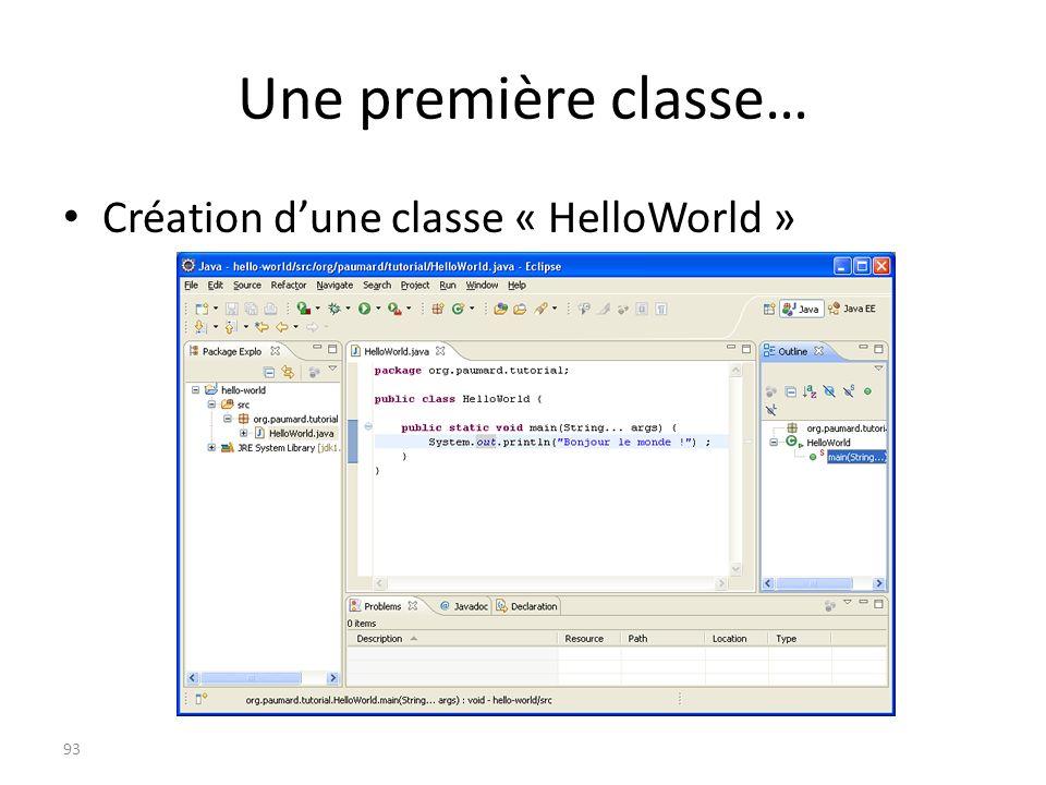 Une première classe… Création dune classe « HelloWorld » 93