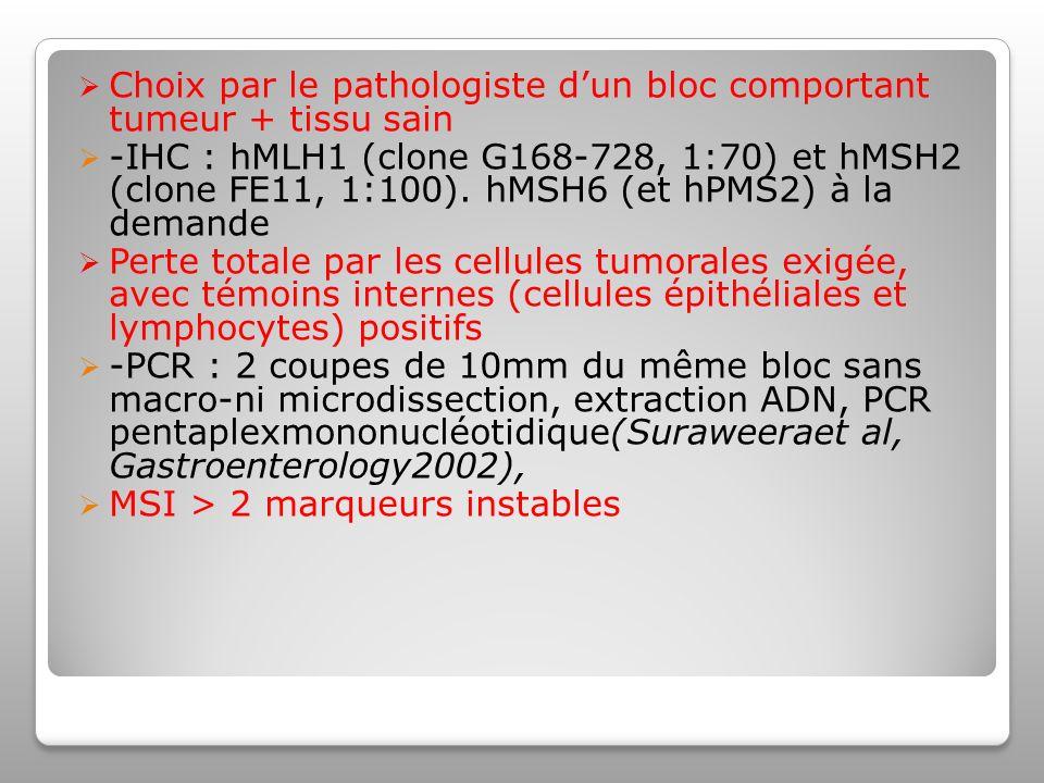 Choix par le pathologiste dun bloc comportant tumeur + tissu sain -IHC : hMLH1 (clone G168-728, 1:70) et hMSH2 (clone FE11, 1:100).