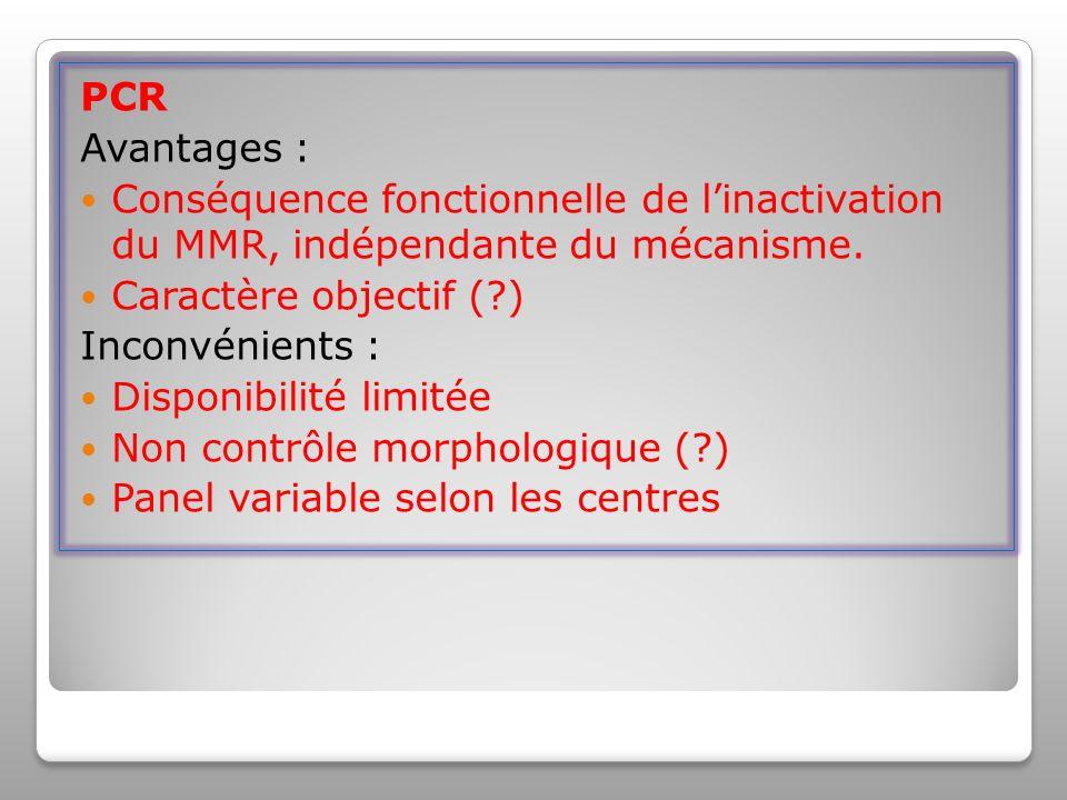 PCR Avantages : Conséquence fonctionnelle de linactivation du MMR, indépendante du mécanisme.
