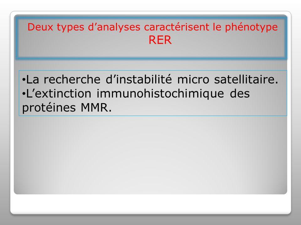 Deux types danalyses caractérisent le phénotype RER La recherche dinstabilité micro satellitaire.
