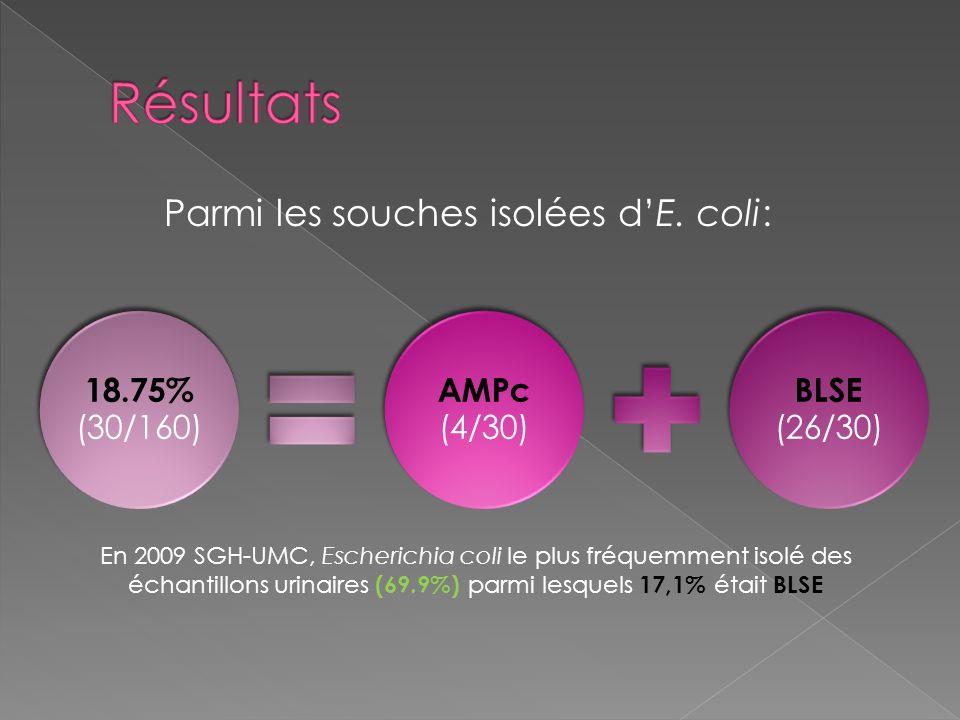 BLSE (26/30) AMPc (4/30) 18.75% (30/160) Parmi les souches isolées dE. coli: En 2009 SGH-UMC, Escherichia coli le plus fréquemment isolé des échantill
