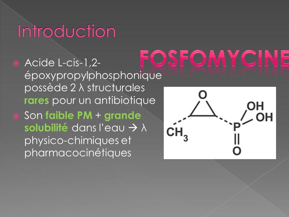 Acide L-cis-1,2- époxypropylphosphonique possède 2 λ structurales rares pour un antibiotique Son faible PM + grande solubilité dans leau λ physico-chi