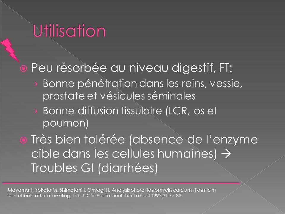 Peu résorbée au niveau digestif, FT: Bonne pénétration dans les reins, vessie, prostate et vésicules séminales Bonne diffusion tissulaire (LCR, os et