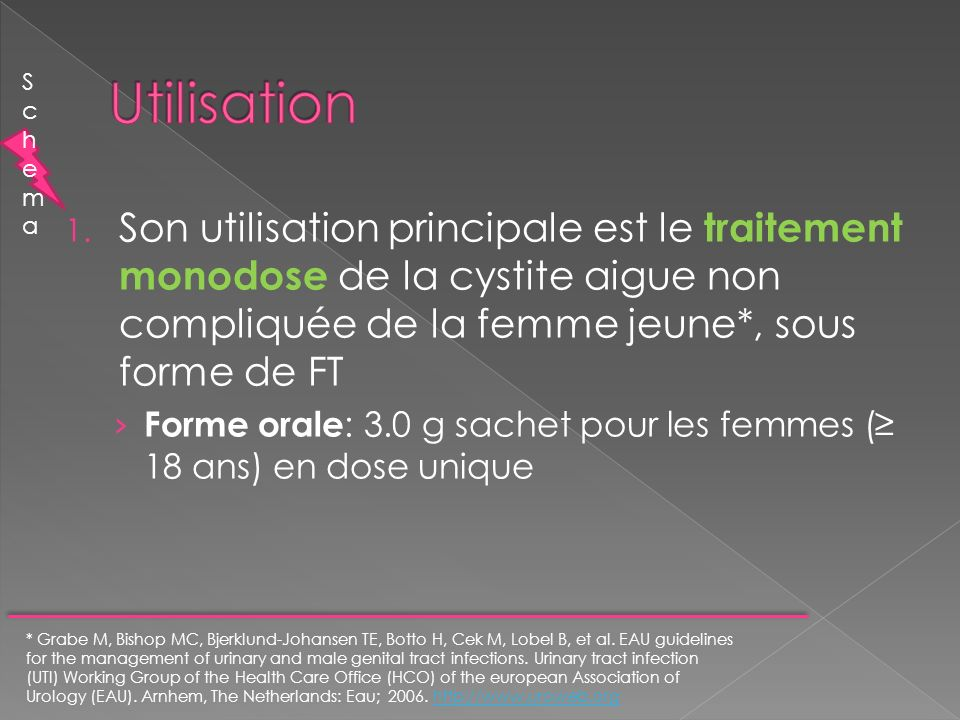 1. Son utilisation principale est le traitement monodose de la cystite aigue non compliquée de la femme jeune*, sous forme de FT Forme orale : 3.0 g s