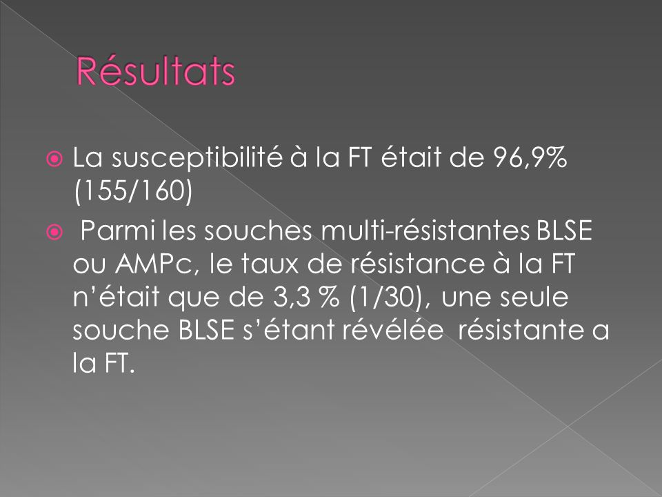 La susceptibilité à la FT était de 96,9% (155/160) Parmi les souches multi-résistantes BLSE ou AMPc, le taux de résistance à la FT nétait que de 3,3 %