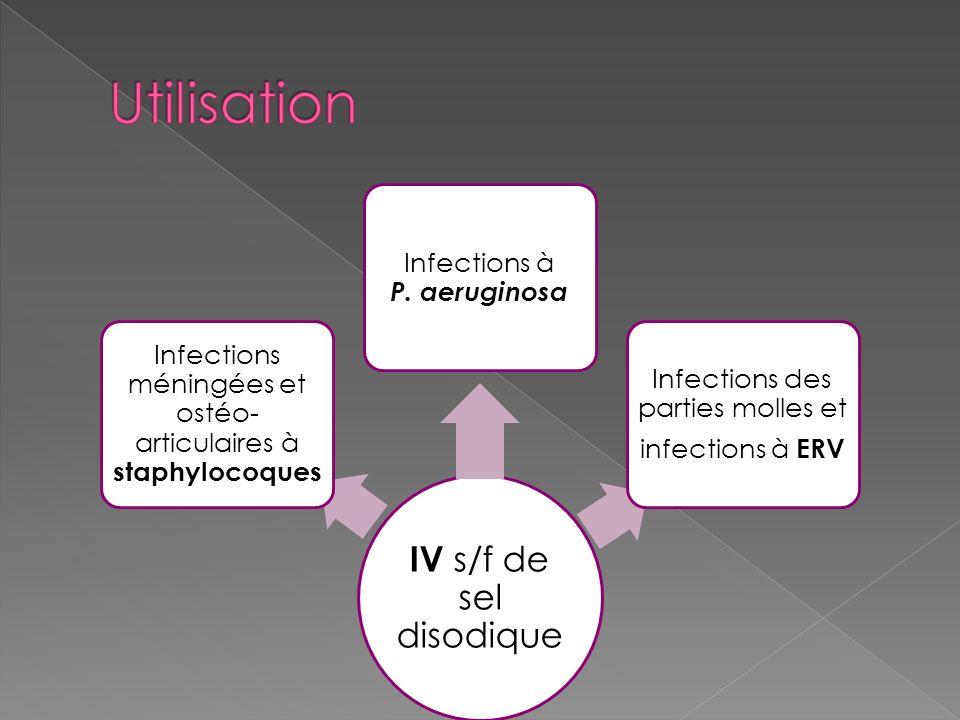IV s/f de sel disodique Infections méningées et ostéo- articulaires à staphylocoques Infections à P. aeruginosa Infections des parties molles et infec