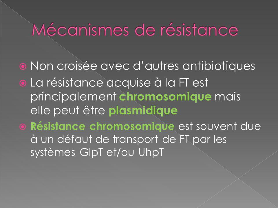 Non croisée avec dautres antibiotiques La résistance acquise à la FT est principalement chromosomique mais elle peut être plasmidique Résistance chrom