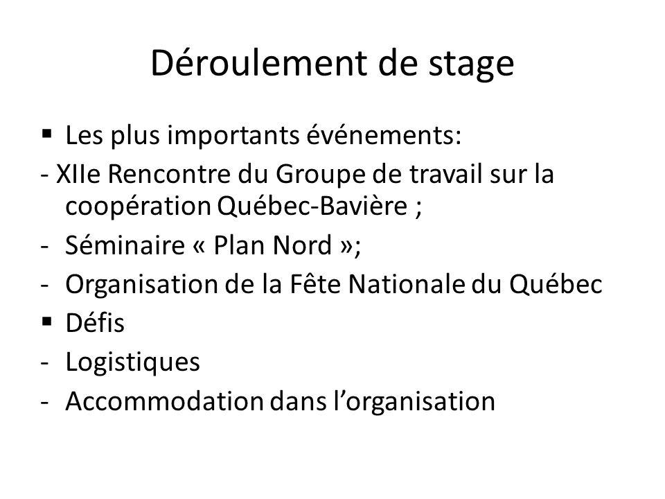 Déroulement de stage Les plus importants événements: - XIIe Rencontre du Groupe de travail sur la coopération Québec-Bavière ; -Séminaire « Plan Nord »; -Organisation de la Fête Nationale du Québec Défis -Logistiques -Accommodation dans lorganisation