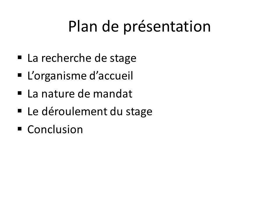 Plan de présentation La recherche de stage Lorganisme daccueil La nature de mandat Le déroulement du stage Conclusion