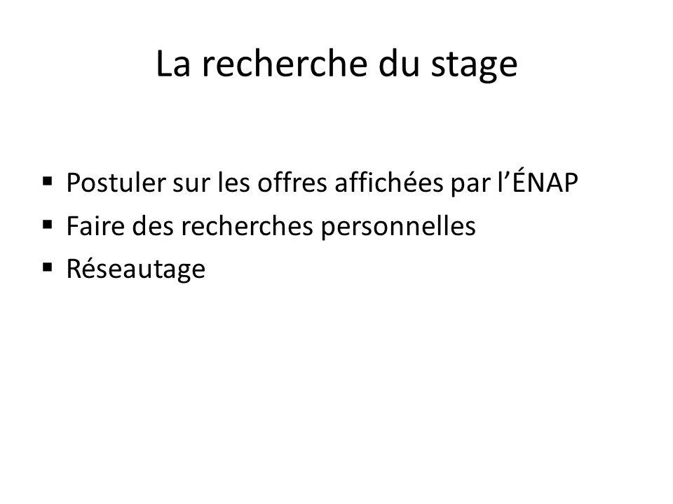 La recherche du stage Postuler sur les offres affichées par lÉNAP Faire des recherches personnelles Réseautage