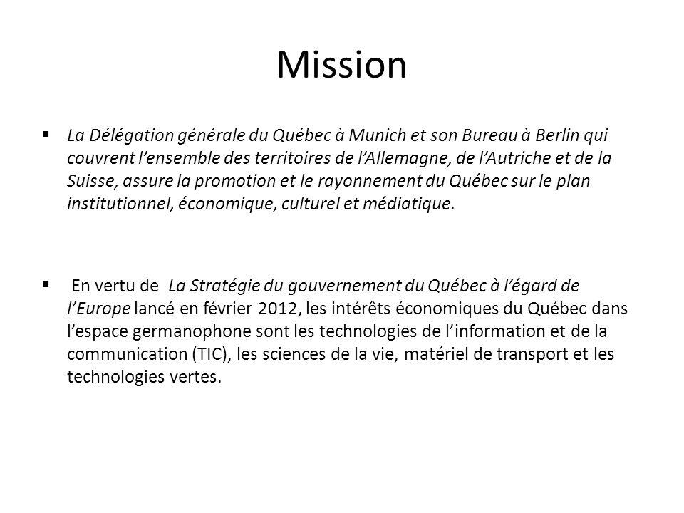 Mission La Délégation générale du Québec à Munich et son Bureau à Berlin qui couvrent lensemble des territoires de lAllemagne, de lAutriche et de la Suisse, assure la promotion et le rayonnement du Québec sur le plan institutionnel, économique, culturel et médiatique.
