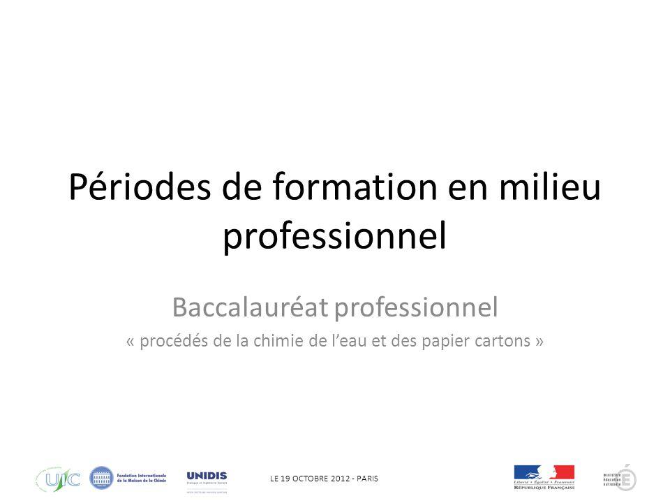 LE 19 OCTOBRE 2012 - PARIS Périodes de formation en milieu professionnel Baccalauréat professionnel « procédés de la chimie de leau et des papier cartons »