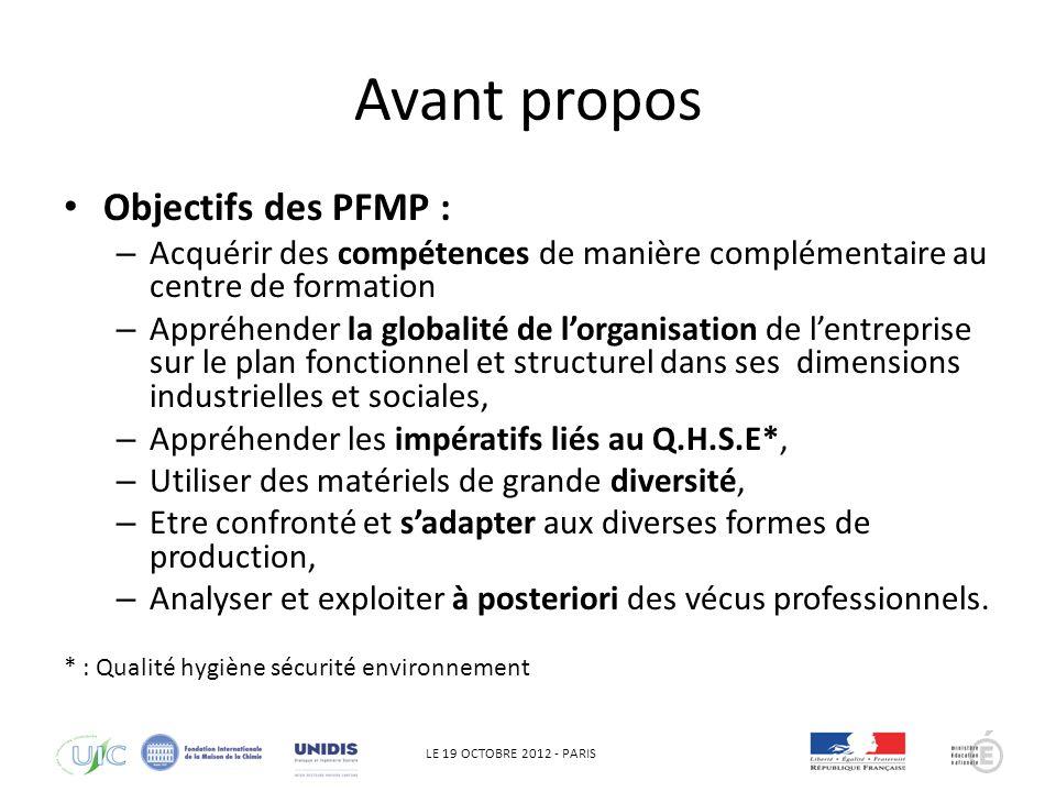 LE 19 OCTOBRE 2012 - PARIS Règlementation générale Une durée de 22 semaines sur les trois ans Lorganisation dans le temps est laissée libre aux établissements.