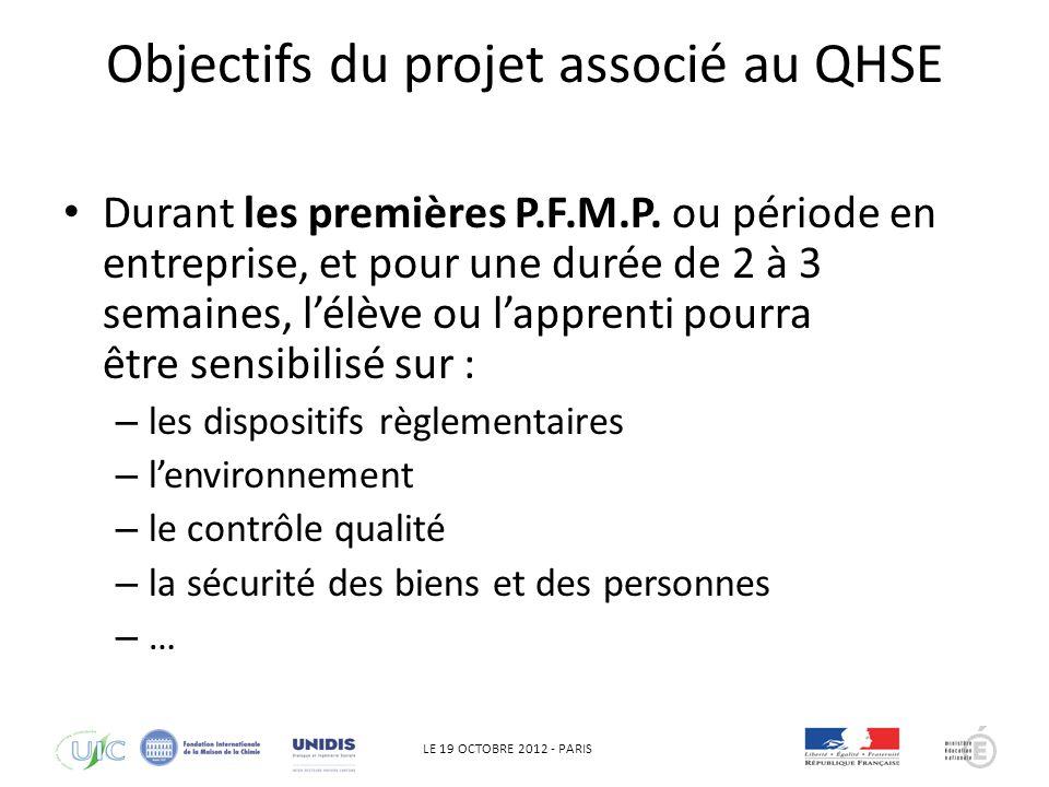 LE 19 OCTOBRE 2012 - PARIS Objectifs du projet associé au QHSE Cette sensibilisation permettra une meilleure intégration des élèves ou apprentis lors des PFMP ou période en entreprise, en donnant des pré requis pour appréhender le QHSE.