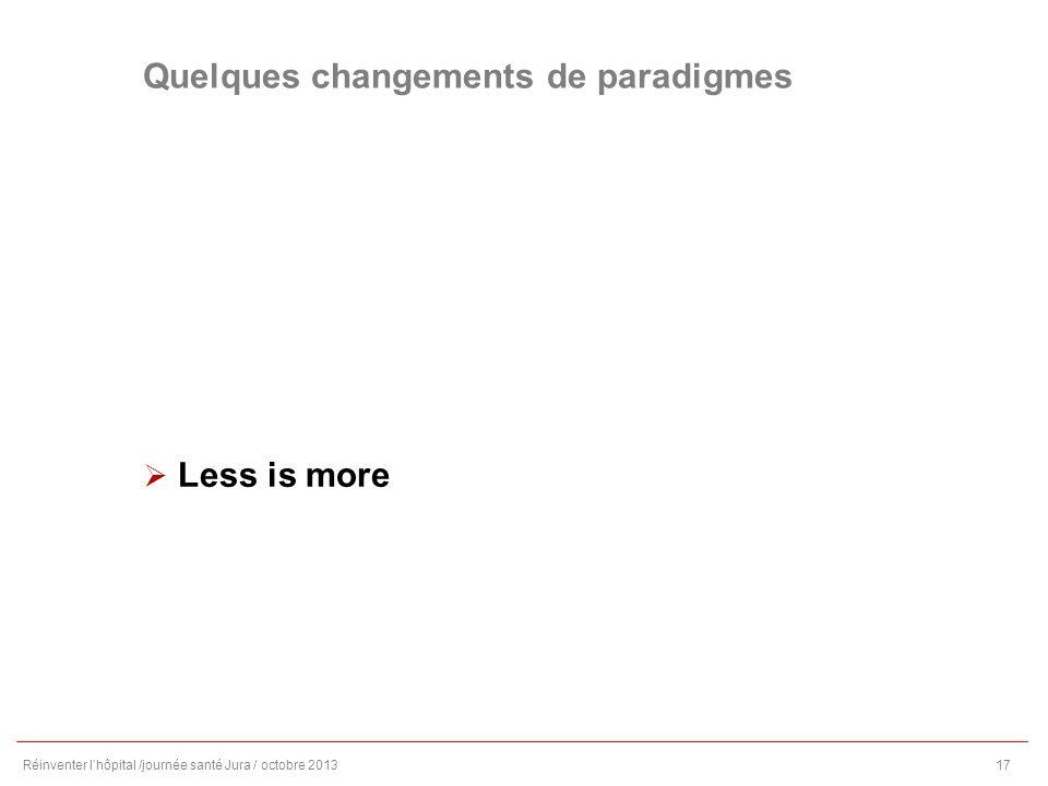 Quelques changements de paradigmes Less is more Réinventer lhôpital /journée santé Jura / octobre 201317