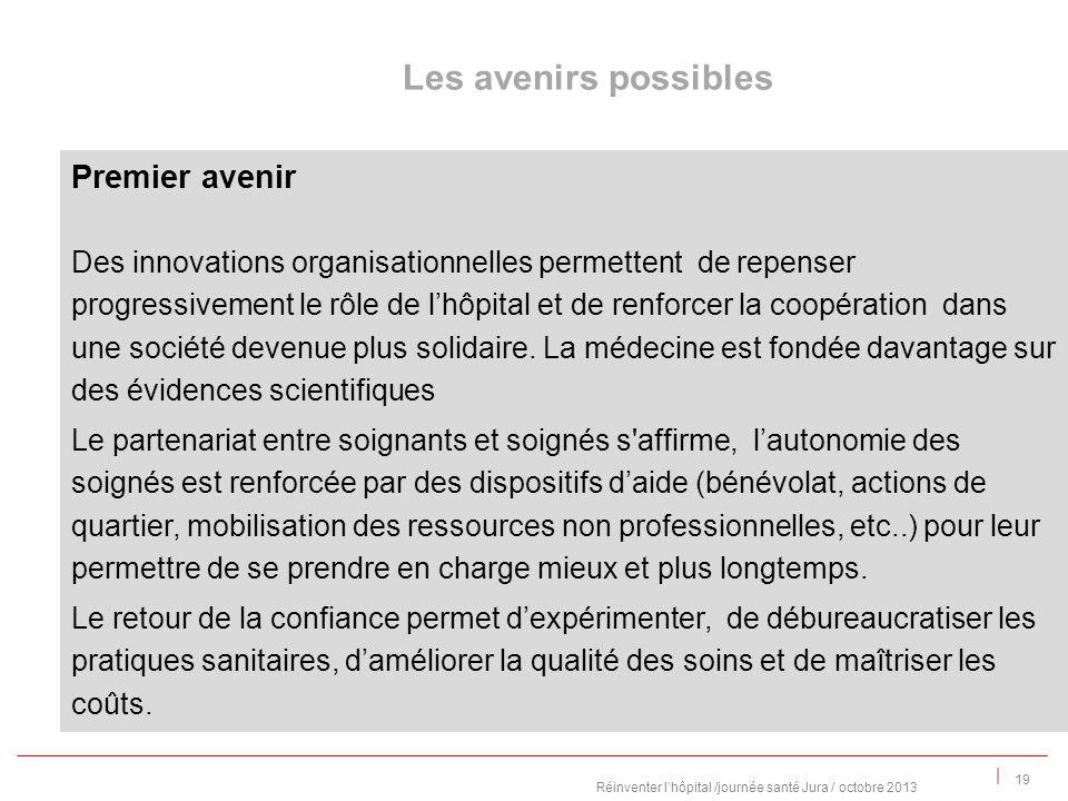 | Premier avenir Des innovations organisationnelles permettent de repenser progressivement le rôle de lhôpital et de renforcer la coopération dans une société devenue plus solidaire.