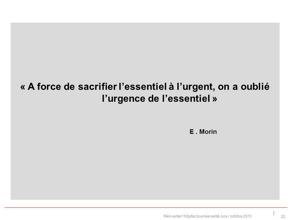 | « A force de sacrifier lessentiel à lurgent, on a oublié lurgence de lessentiel » E.