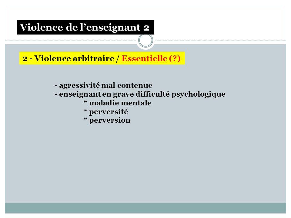 - agressivité mal contenue - enseignant en grave difficulté psychologique * maladie mentale * perversité * perversion Violence de lécole/ à lécole Vio
