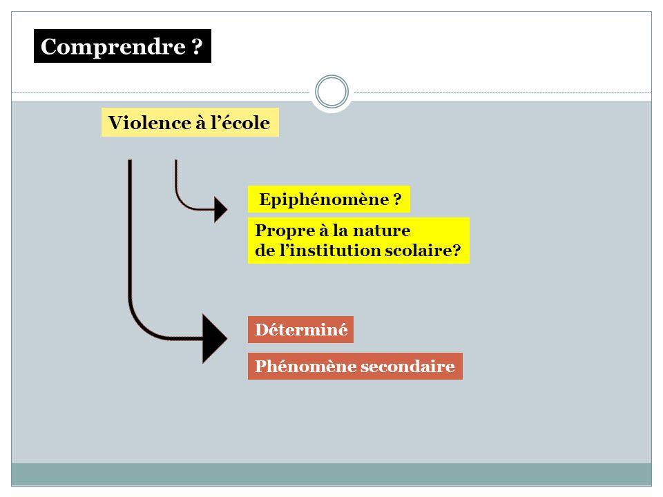Violence à lécole Epiphénomène ? Propre à la nature de linstitution scolaire? Déterminé Phénomène secondaire Comprendre ?
