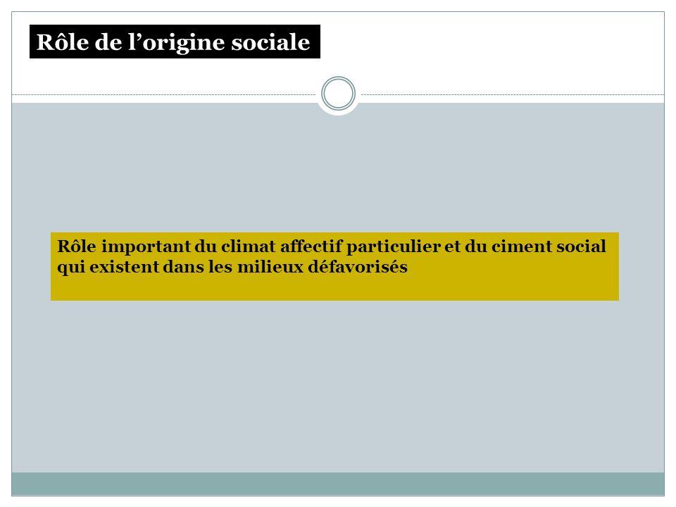 Rôle important du climat affectif particulier et du ciment social qui existent dans les milieux défavorisés