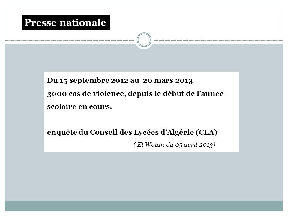 Du 15 septembre 2012 au 20 mars 2013 3000 cas de violence, depuis le début de lannée scolaire en cours. enquête du Conseil des Lycées dAlgérie (CLA) (