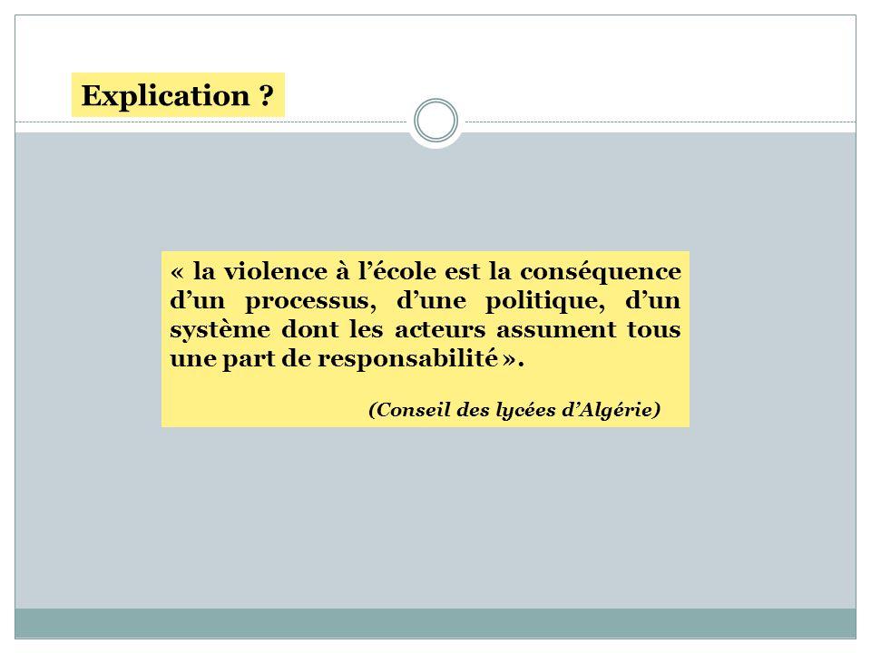 « la violence à lécole est la conséquence dun processus, dune politique, dun système dont les acteurs assument tous une part de responsabilité ». (Con